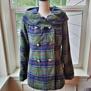 Urban Outfitters BDG Green Wool Plaid Coat   L